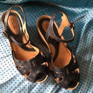 Clarks Black Wedge Sandal